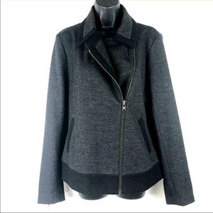 J Crew 12 wool Motorcycle jacket navy and gray